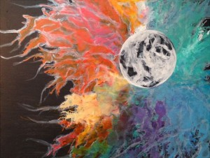 Acrylic Painting: Cosmic Moon