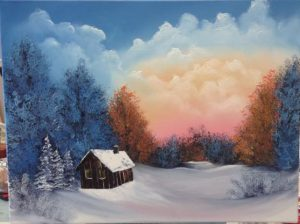 Oil Painting: Cabin Sunset